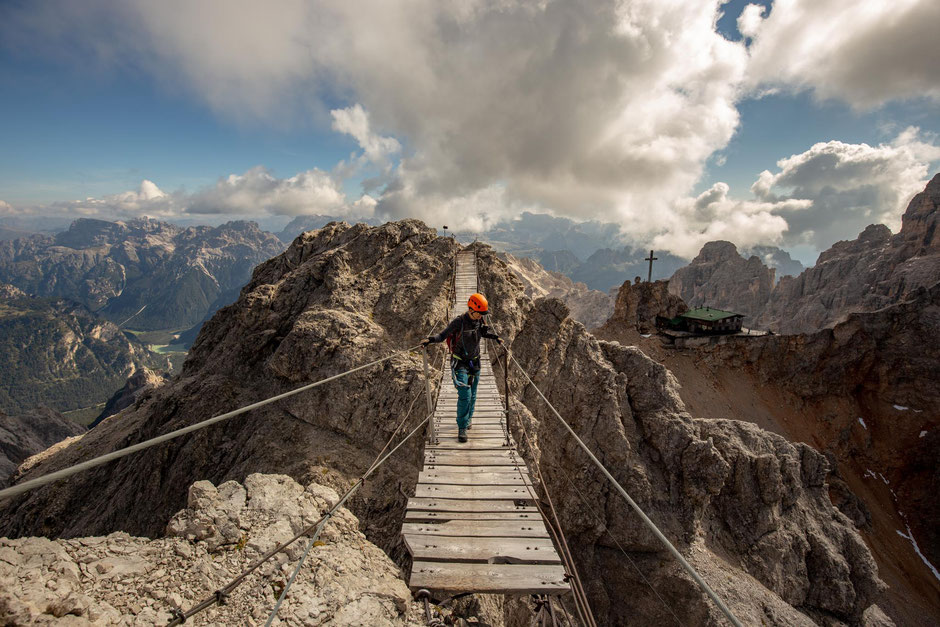 The suspension bridge along the via ferrata Ivano Dibona in the Italian Dolomites