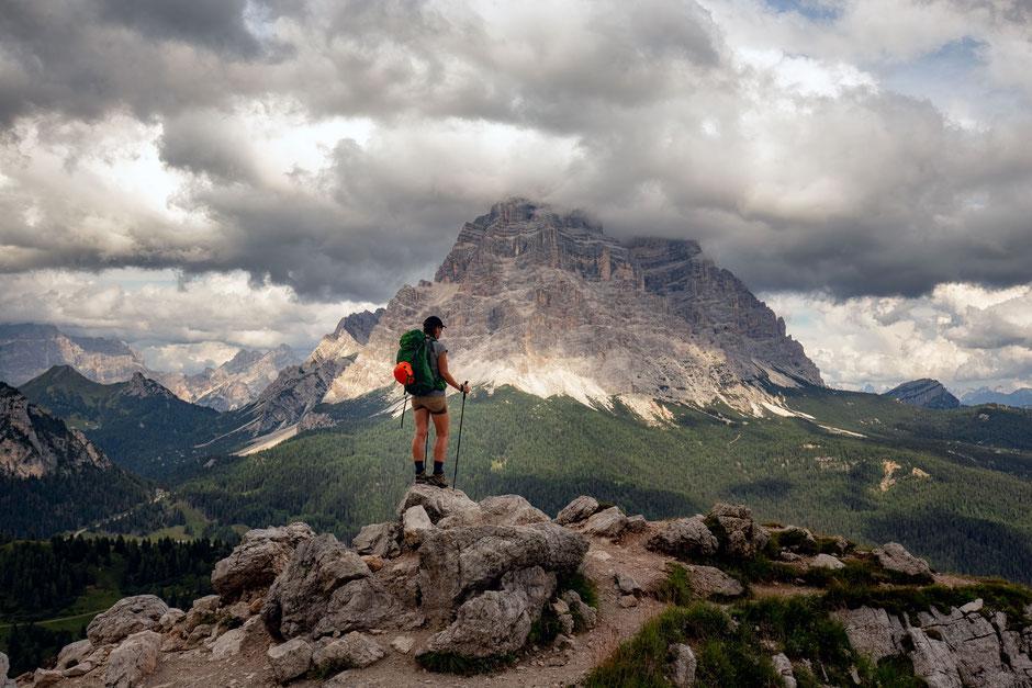 Enroute to rifugio Coldai along the path nr 556. Mount Pelmo can be seen in the Italian Dolomites.  Via ferrata Degli Alleghesi