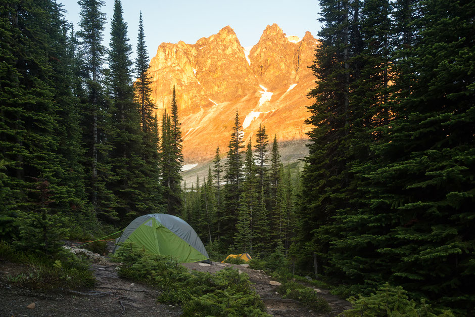 The Tekarra Campground below Mount Tekarra - One of the best campgrounds on the Skyline Trail in Jasper National Park