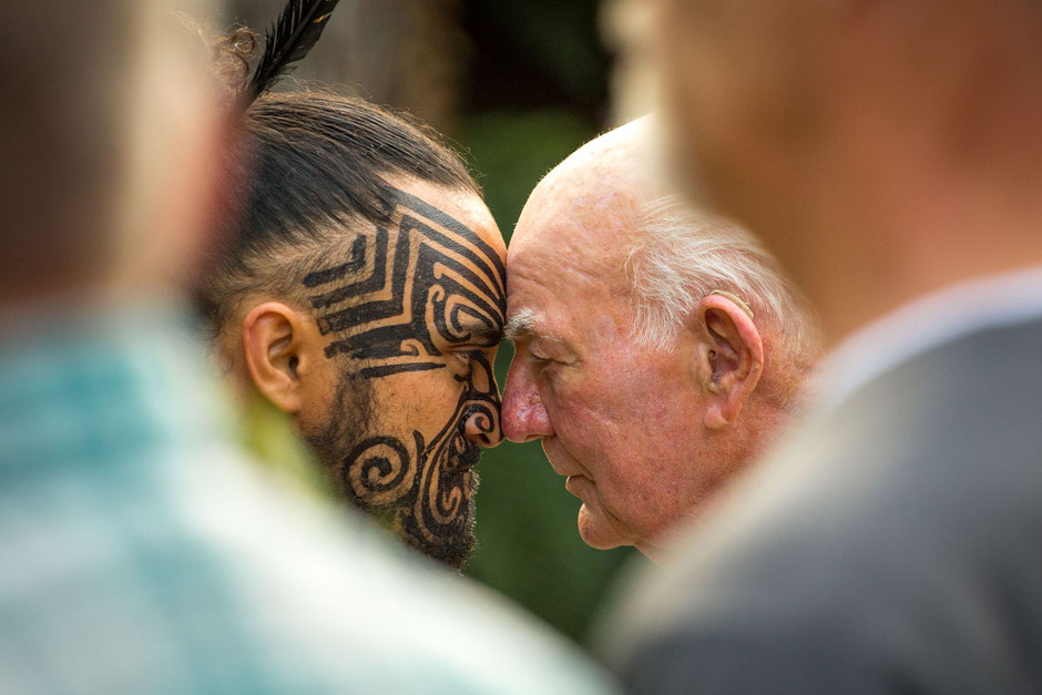 Traditional Maori greeting at the Tamaki Maori Village