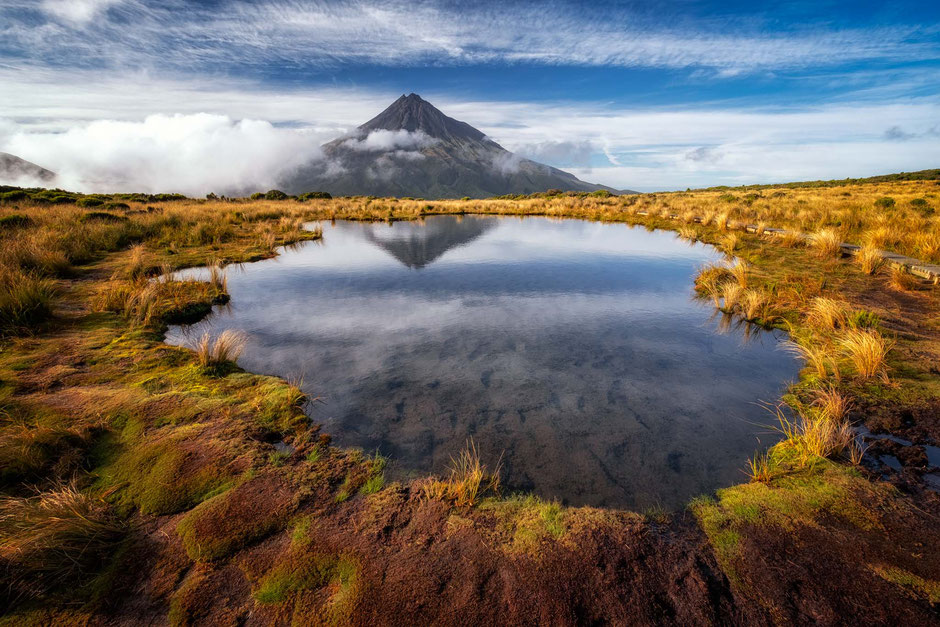 Pouakai Tarns. Best photography spots on the North Island of New Zealand