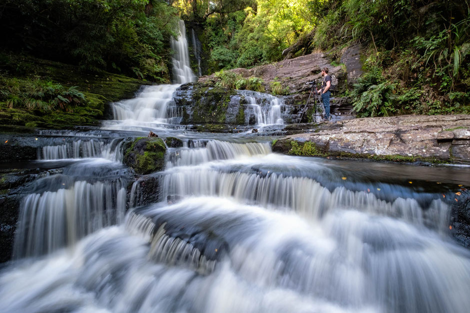 Mclean falls in the Catlins Forest Park - not to be missed on a road trip around New Zealand