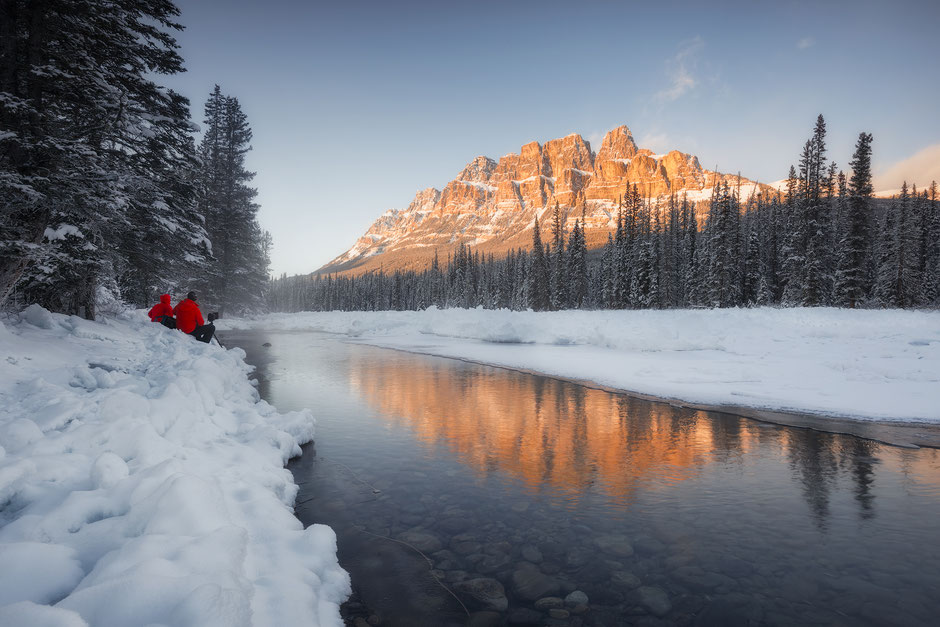 Winter sunrise near Castle Mountain on the Bow valley Parkway
