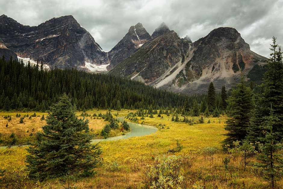 Hiking in the Eremite Valley on the Tonquin Valley Trail in Jasper National Park