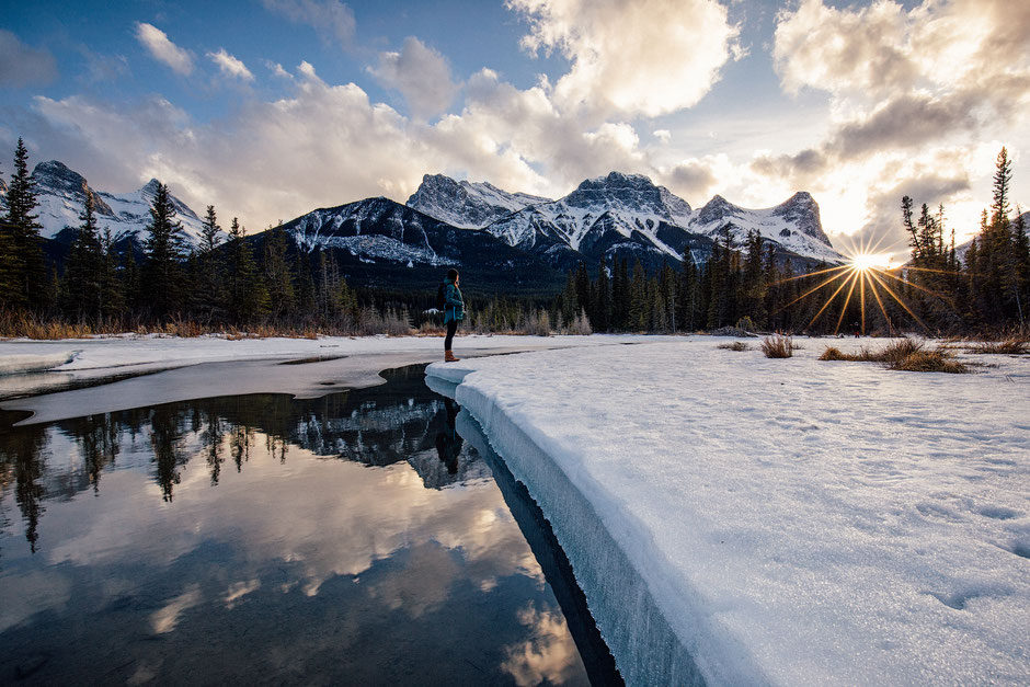 Winter Sunset at the Policeman Creek in Canmore