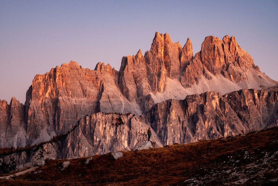 The spires of the Croda da Lago range in the Italian Dolomites
