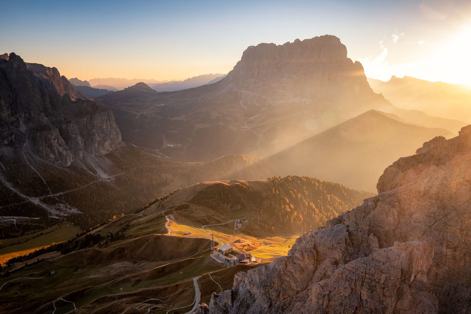Passo Gardena from the summit of Gran Cir in the Italian Dolomites