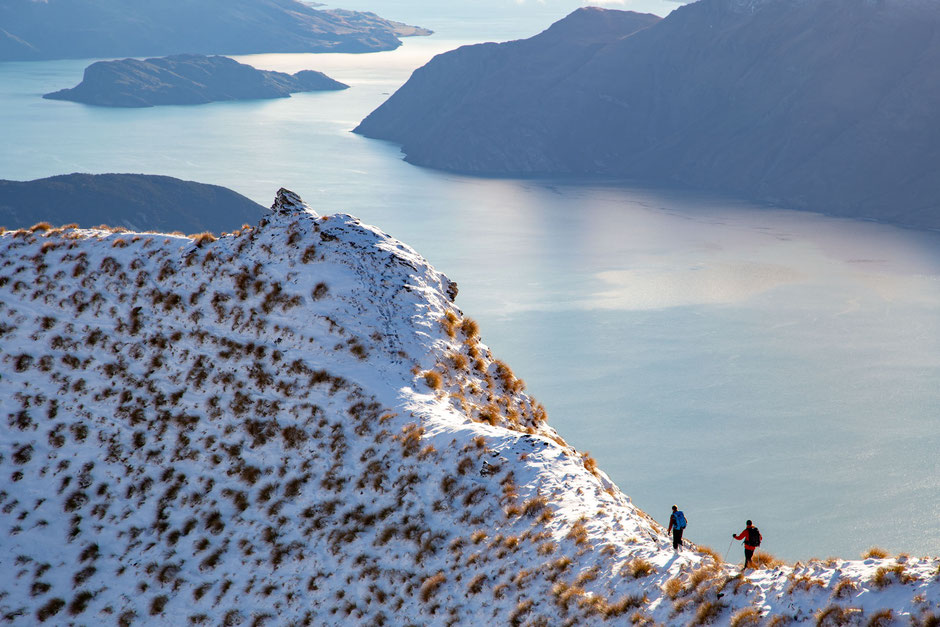 Hiker on Mt Roy ridgeline in Wanaka