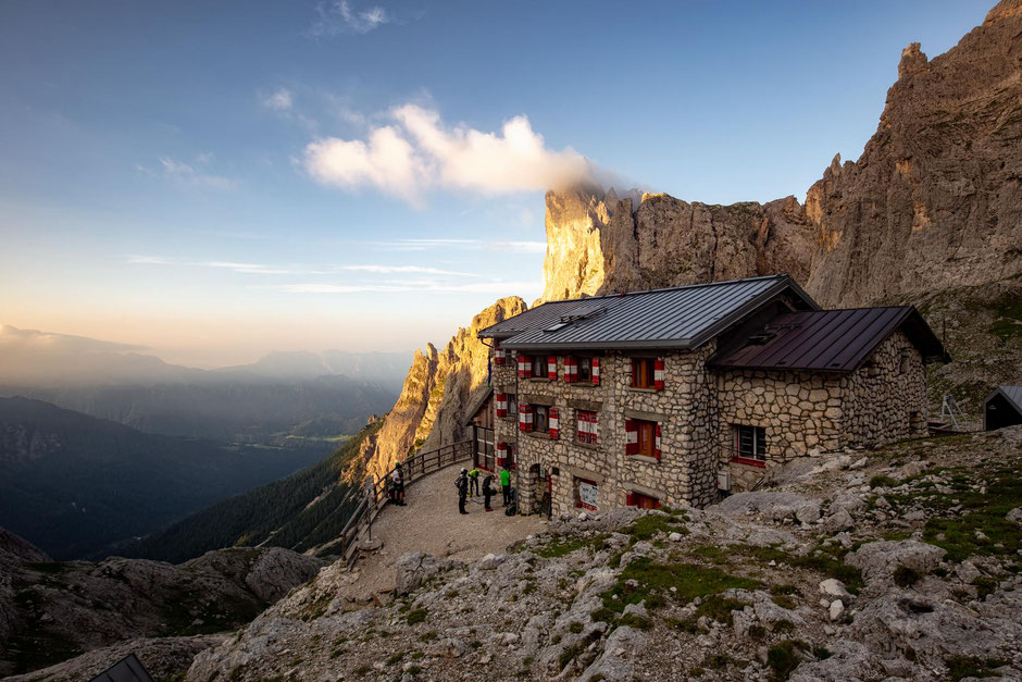 Rifugio Pradidali in the Pale di San Martino Group provides shelter to Alta Via 2 hikers