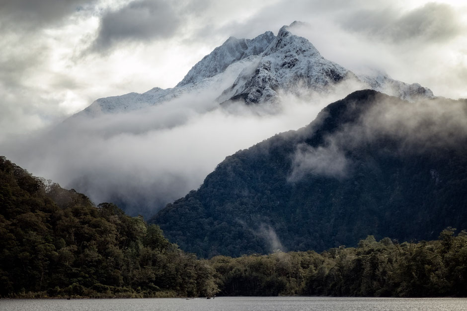 A snow-capped peak from the boat ride on Lake Te Anau - The start of the Milford Track in New Zealand