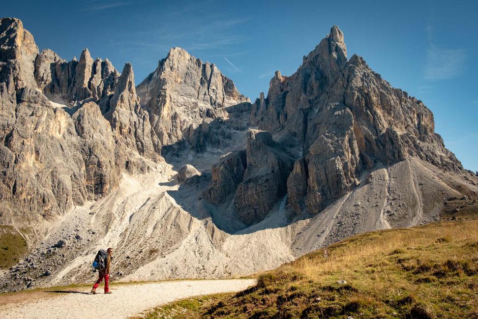 The impressive Pale Di San Martino group in the Italian Dolomites