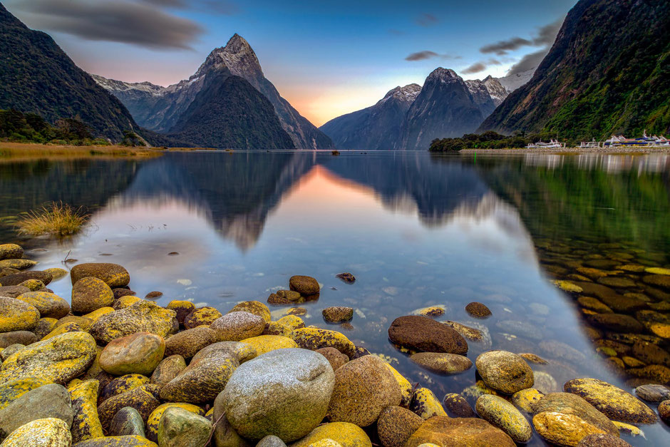 Mitre Peak in Milford Sound, New Zealand. Where to take beautiful photos in Milford Sound