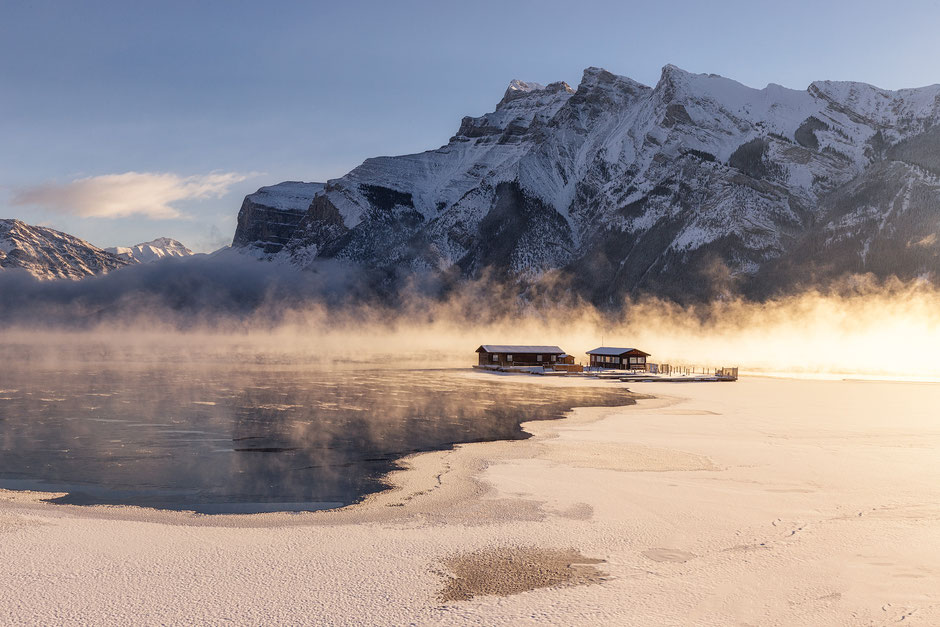 Early winter morning fog at Lake Minnewanka in Banff National Park by @InAFaraway_Land