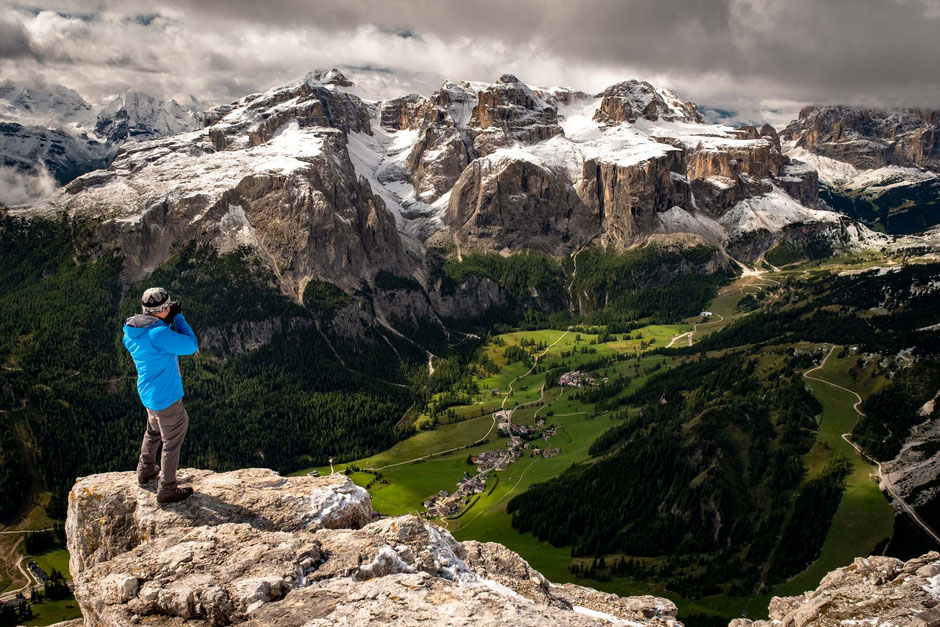 The views from the summit of Sassongher in the Italian Dolomites