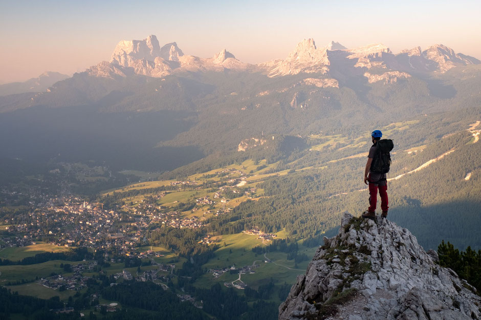 The view of Cortina D'Ampezzo from Via Ferrata Michielli Strobel