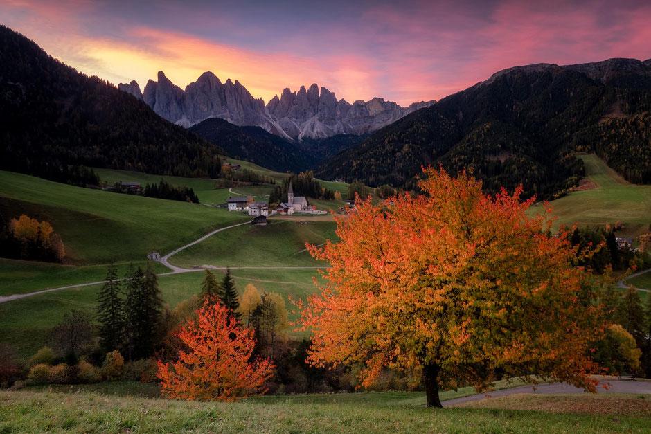 Santa Maddalena church in Val Di Funes during autumn