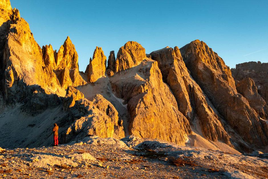 Sunset on Passo Mulaz with Passo delle Farangole in the background. Pale di San Martino traverse in the Italian Dolomites