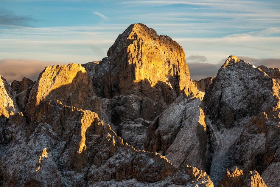 The summit of Catinaccio photographed from the Terrarosa Peak. Italian Dolomites.