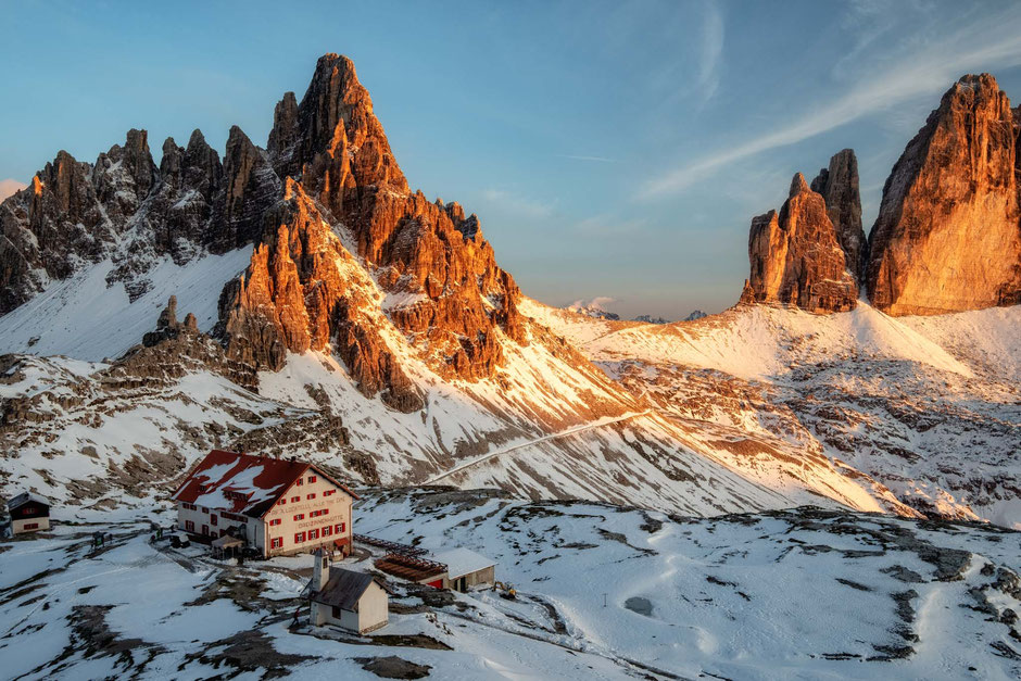 Rifugio Locatelli. Top backcountry huts in the Italian Dolomites
