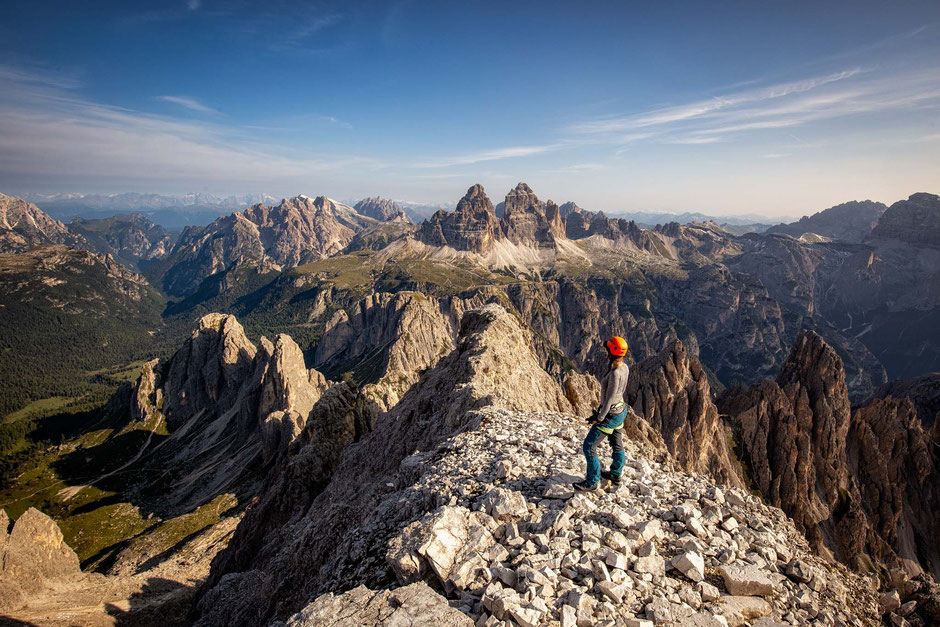 Views from the top of Cima Cadina looking toward Tre Cime National Park. Via Ferrata Merlone
