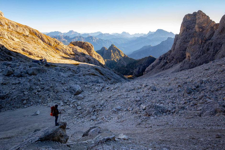 Rifugio Mulaz as seen from Passo del Mulaz in the Italian Dolomites.