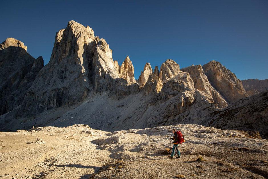 Passo Farangole as seen from Passo del Mulaz in the Italian Dolomites