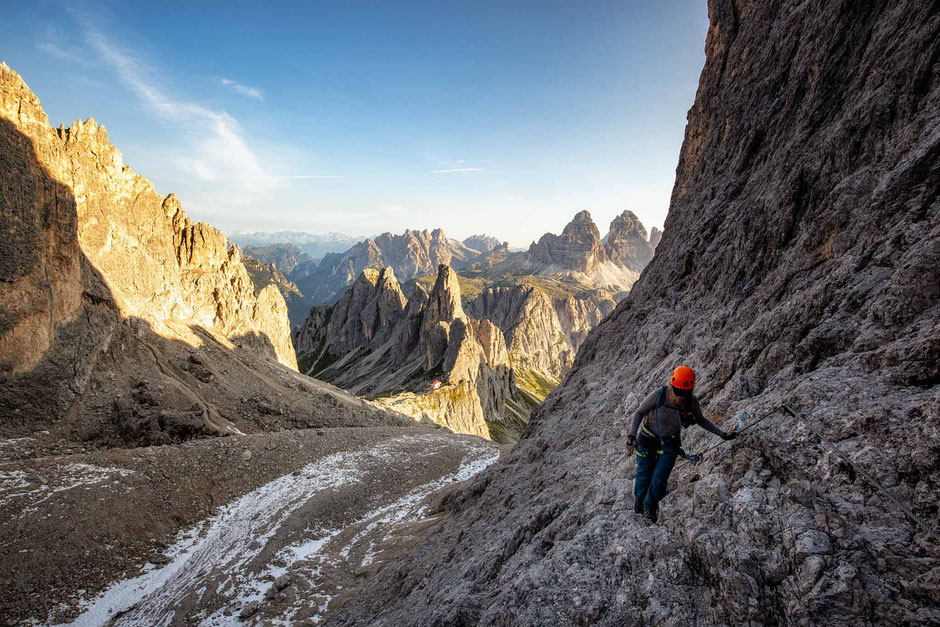 The start of the via ferrata Merlone in the Italian Dolomites