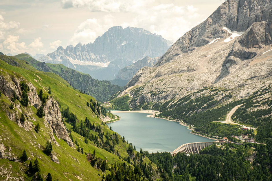 The manmade Lago Fedaia on Passo Fedaia with Monte Civetta as the backdrop.
