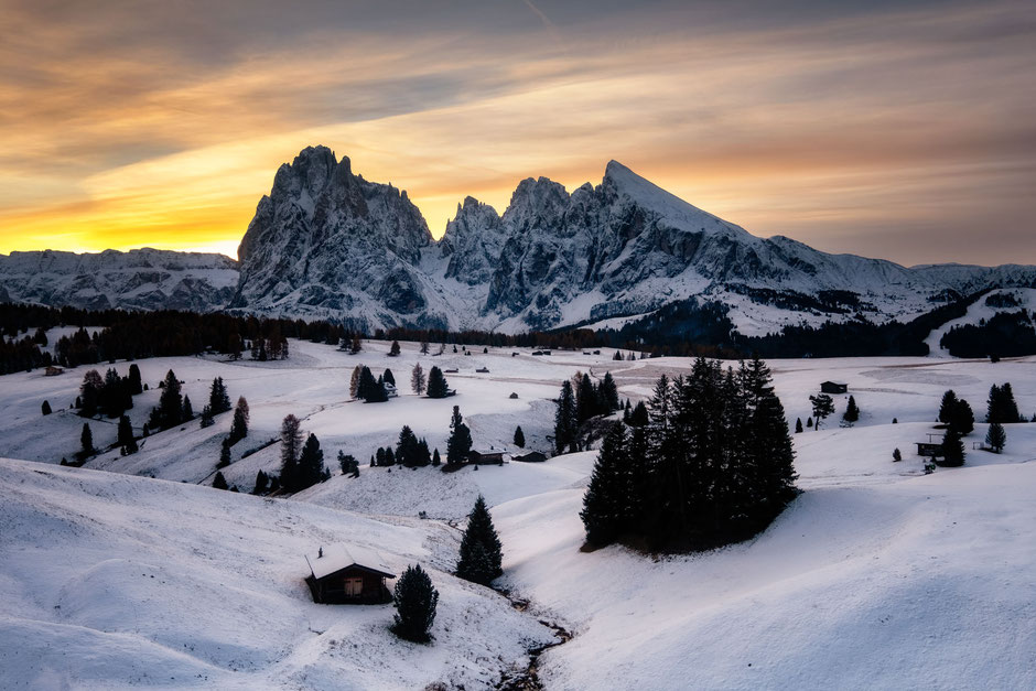 The Alpi di Suisi meadows  in the Italian Dolomites covered in snow in early November