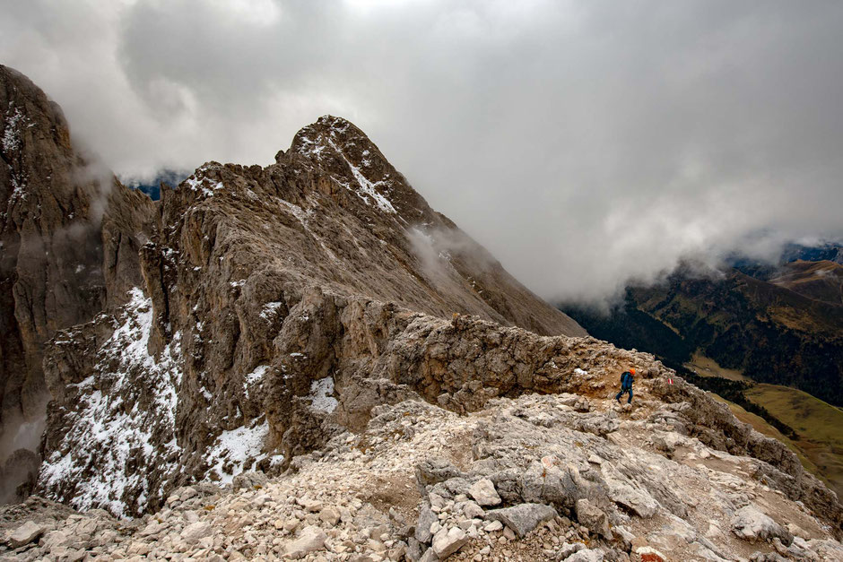 Summit of Sasso Piato reached by the via ferrata Oskar Schuster