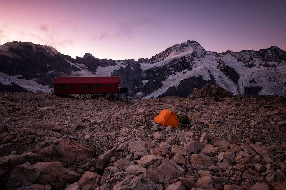 Camping at Mueller hut in Mount Cook National Park