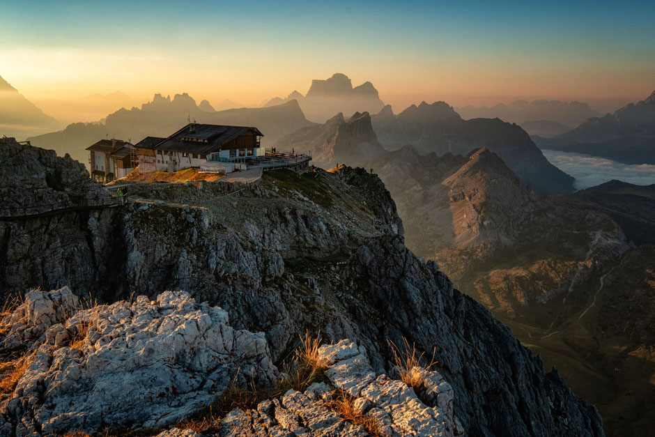 Rifugio Lagazuoi in the Italian Dolomites at sunrise