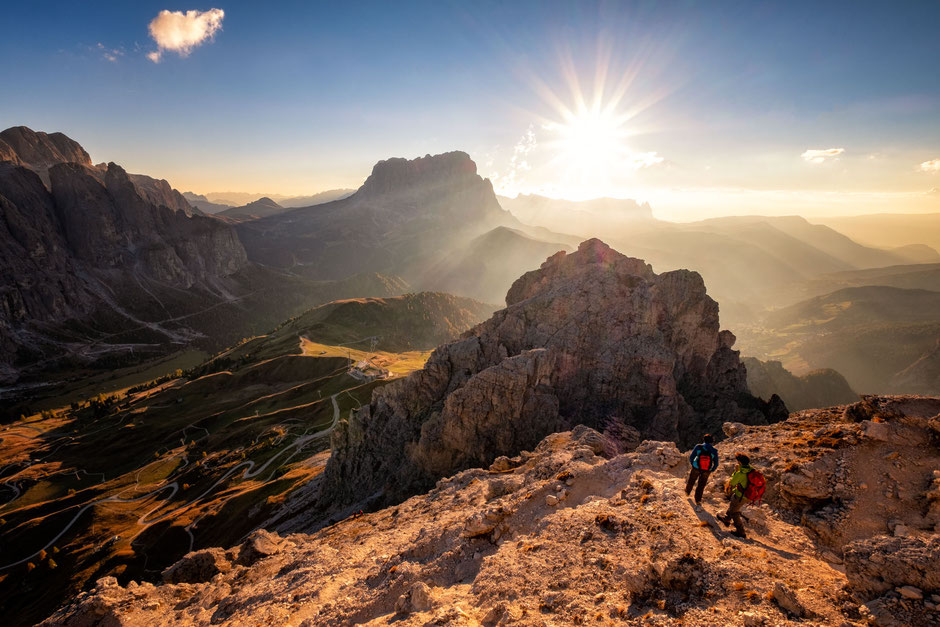 Sunset on the via ferrata Gran Cir near Passo Gardena in the Italian Dolomites