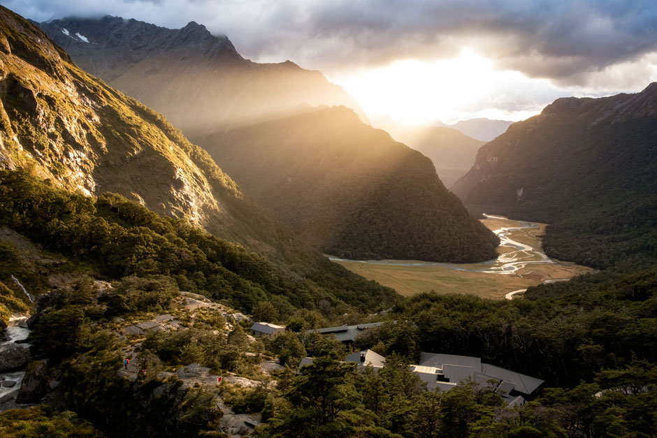 Routeburn Falls hut on the Routeburn track. Top backcountry hut in New Zealand.