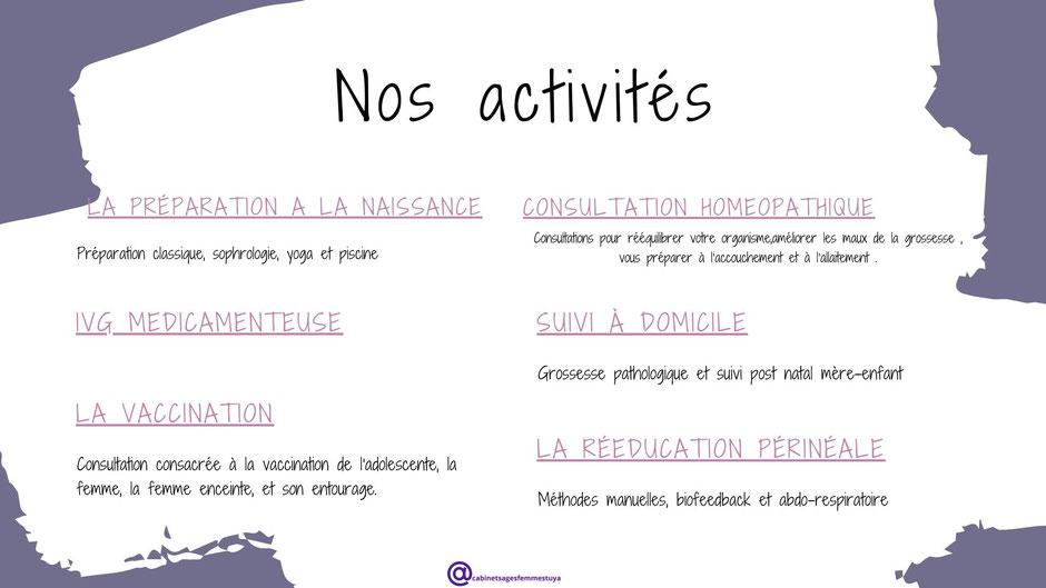 Nos activités Cabinet Sages-Femmes TUYA Firminy