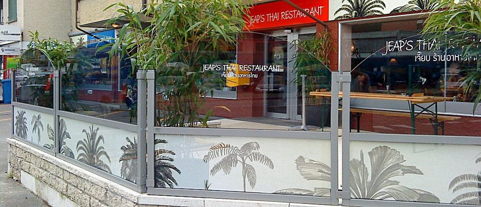 Windschutzwände Terrasse Restaurant