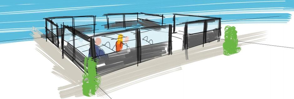 Zeichnung Terrasse mit Windschutzanlage