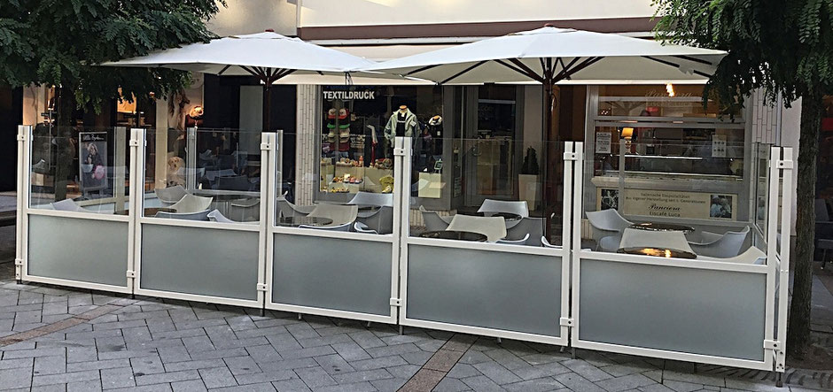 Windschutzanlage Einkaufsstraße Genehmigung