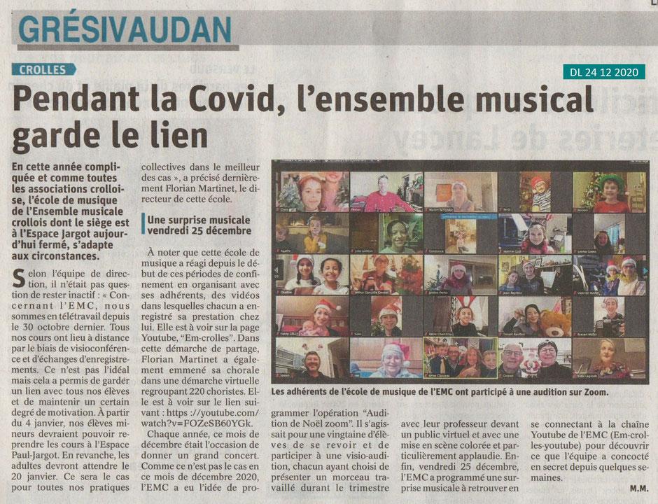 Article de presse de Monique Micaud (Dauphiné Libéré du 24/12/2020))