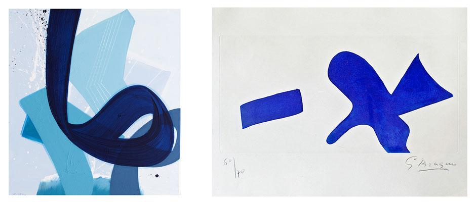 Links: Verve 13, 120 x 110 cm, Acryl auf Leinwand, Aatifi 2019 – Rechts: Die alltägliche Magie, 19 x 38,5 cm, Farbradierung, Georges Braque 1959/68