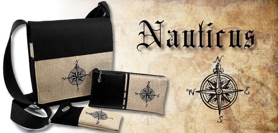 Schultertasche, Buchhülle und Federmäppchen Nauticus mit schwarzer Vintage-Kompass-Stickerei