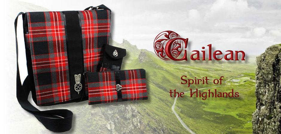 Spirit of the Highlands - Schultertasche, Brillenetui und Federmäppchen aus rot-schwarz-grauem Schottenkarostoff
