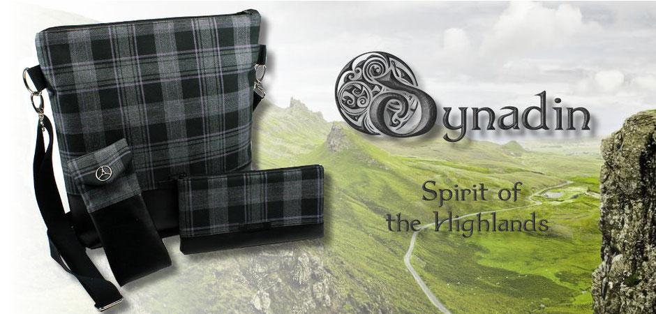Spirit of the Highlands - Schultertasche, Brillenetui und Federmäppchen aus grau-schwarz kariertem Wollstoff