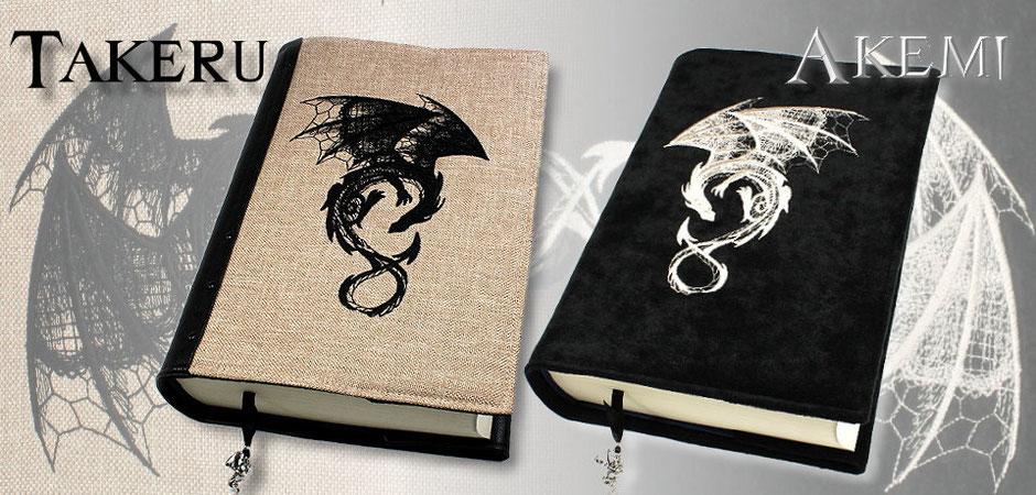 Buchhüllen Takeru und Akemi mit Drachenstickerei