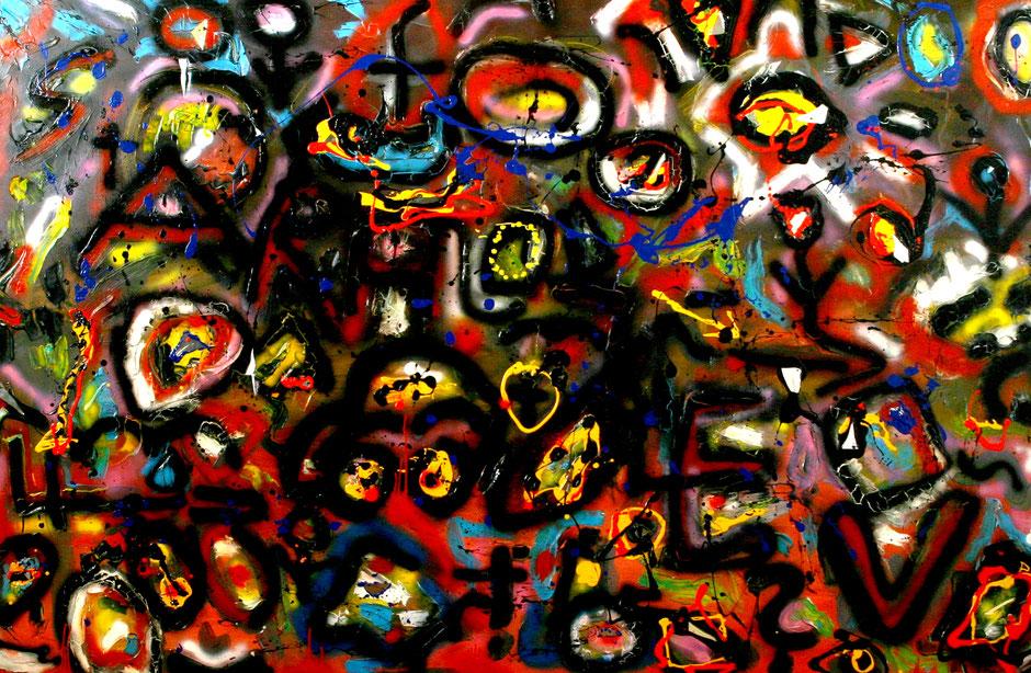 """""""Sarajevo"""", Gestringen, 08/92, Werkverzeichnis 301, Acryl-, Öl- und weitere Farben, sowie diverse Materialien und Löcher auf Leinwand b 237,0 cm * h 154,0 cm"""
