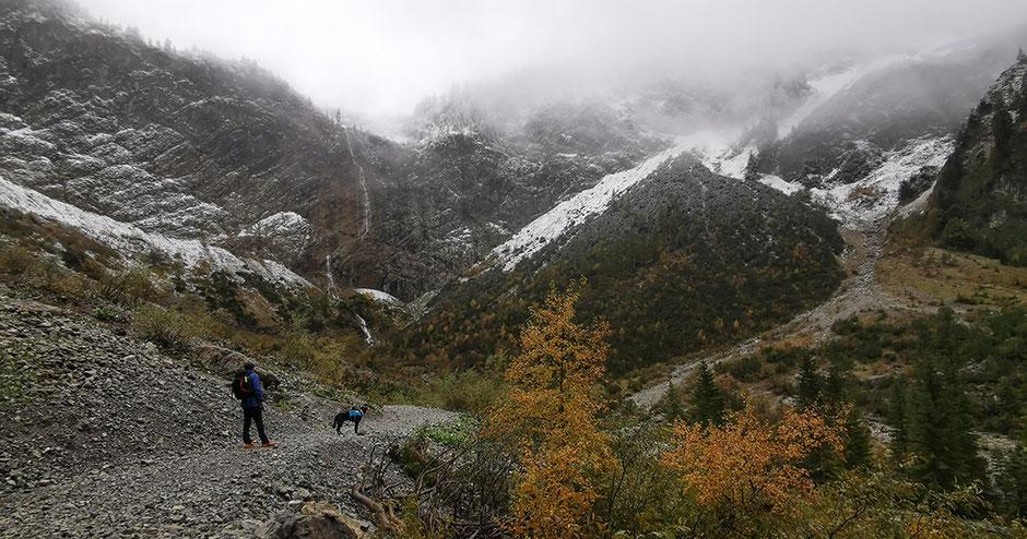 Vilsalpsee Tannheimer Tal Tirol Wandern mit Hund in Tirol Bergurlaub mit Hund Bergaichtwasserfall