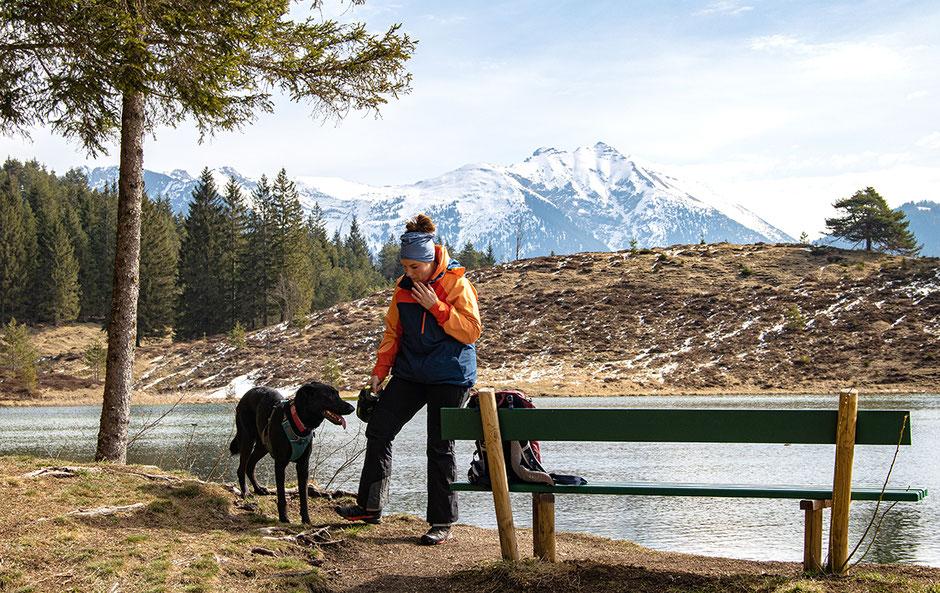 Urlaub mit Hund Berge, Bergurlaub mit Hund, Wandern mit Hund, Karwendel, Mittenwald, Wildensee, Luttensee