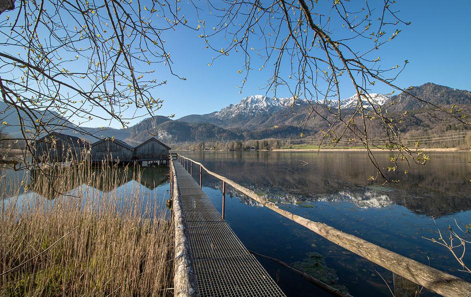Kochelsee Bootshäuser Schleedorf Herzogstand Heimgarten Wandern in Bayern, Wandern mit Hund, Urlaub mit Hund, Bergurlaub mit Hund