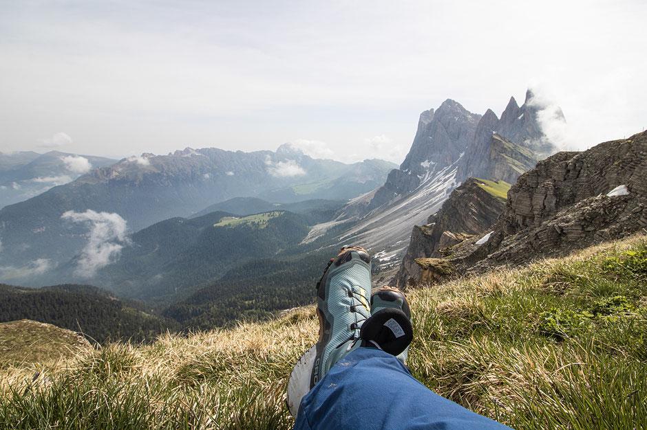 Gipfelblick der Seceda auf die Geislerspitzen Grödnertal