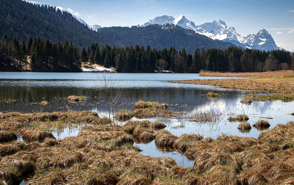 Geroldsee und Wettersteingebirge mit Alpspitze, Zugspitze und Waxenstein
